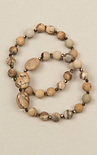 Ashlyn Rose Two Strand Brown Stone Bracelet