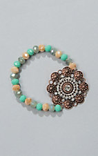 Ashlyn & Rose Beige & Turquoise with Round Center Pendant Bracelet