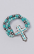 Ashlyn Rose Turquoise and Silver Beaded Bracelet with Cross