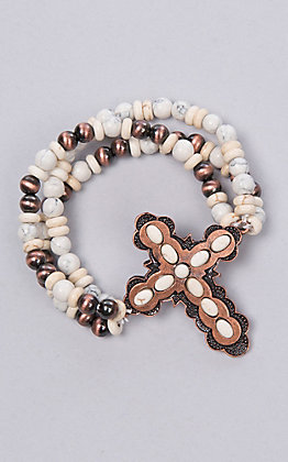 Ashlyn Rose Cream and Copper Beaded Bracelet with Cross
