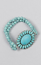 Ashlyn Rose Turquoise Beads with Silver Concho Double Strands Stretch Bracelet