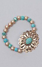 Ashlyn Rose Turquoise Beads with Gold Concho Flower Stretch Bracelet