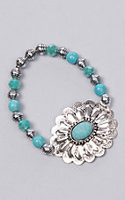 Ashlyn Rose Turquoise Beads with Silver Concho Flower Stretch Bracelet