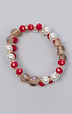 Ashlyn Rose Red and Pearl Beaded Two Strand Bracelet