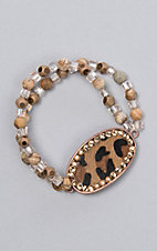 Ashlyn Rose Earth Tones and Crystal Bead Leopard Bracelet