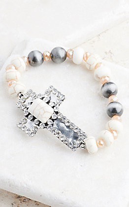 Ashlyn Rose WHite Stone Hammered Cross Bracelet