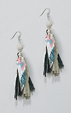 Ashlyn & Rose Silver Diamond Shape Floral Tassel Earrings