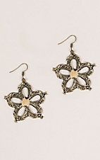 Ashlyn Rose Gold Metal Flower Earrings with Leopard Print Center