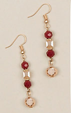 Ashlyn Rose Red and Gold Matching Bead Earrings