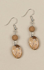 Ashlyn Rose Silver and Brown Bead Earrings