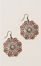 Ashlyn & Rose Round Charm Tassel Earrings