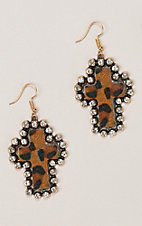 Ashlyn Rose Leopard Cross with Crystals Earrings