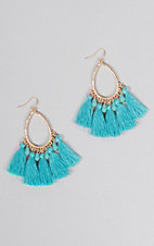 Ashlyn Rose Gold Teardrops with Turquoise Beads and Tassels Earrings