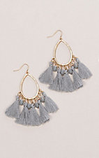 Ashlyn Rose Gold Teardrops with Grey Tassels Earrings