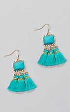 Ashlyn & Rose Gold and Turquoise with Triple Tassel Earrings