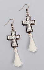 Ashlyn Rose Gold Cross with Cream Tassel Earrings