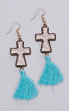 Ashlyn Rose Gold Cross with Turquoise Tassel Earrings