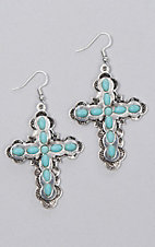 Ashlyn Rose Silver Cross with Turquoise Accent Earrings