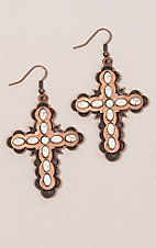 Ashlyn Rose Copper Cross with Cream Accent Earrings