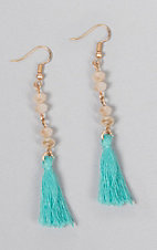 Ashlyn Rose Cream Crystal Beads with Turquoise Tassels Earrings