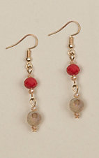 Ashlyn Rose Red and Beige Matching Bead Earrings