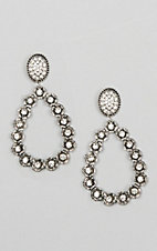 Ashlyn & Rose Silver Teardrop Clear Stone Earrings