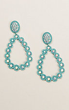 Ashlyn & Rose Turquoise Teardrop Clear Stone Earrings