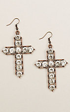 Ashlyn & Rose Copper Statement Crystal Cross Earrings