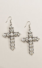 Ashlyn & Rose Silver Statement Crystal Cross Earrings