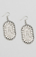 Ashlyn & Rose Oval with Clear Stones and Silver Outline Earrings