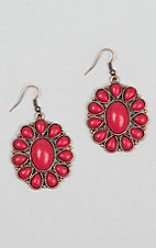 Ashlyn Rose Red Stone Blossom Flower Earrings