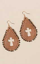Ashlyn Rose Brown Leather Teardrop Cross Earrings