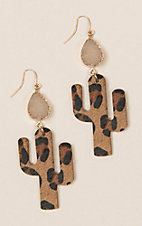 Ashlyn Rose Druzy Leopard Cactus Earrings