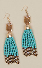 Ashlyn Rose Turquoise Beaded Tassel Earrings with Gold Crystals
