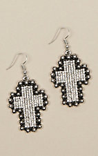 Ashlyn Rose Silver Crystal Cross Earrings