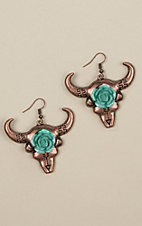 Ashlyn Rose Cactus Bull Skull Copper Earrings