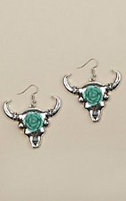 Ashlyn Rose Cactus Bull Skull Silver Earrings