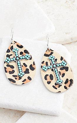 Ashlyn Rose Turquoise Beaded Cross on Leopard Teardrop Earrings