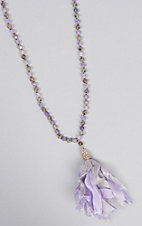 Ashlyn Rose Purple and Grey Beaded Necklace with Ribbon Tassel