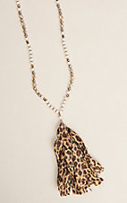 Ashlyn Rose Women's Beige and Brown Beaded Leopard Tassel Necklace