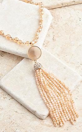 Ashlyn Rose Southern Stone Beige Tassel Necklace