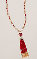 Ashlyn & Rose Red and Gold Beads with Red Stone and Tassel Necklace