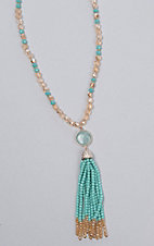 Ashlyn & Rose Turquoise and Gold Beads with Turquoise Stone and Tassel Necklace