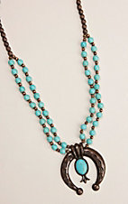 Ashlyn and Rose Two Steppin Turquoise and Copper Squash Blossom Necklace