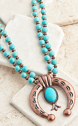 Ashlyn Rose Copper and Turquoise Squash Blossom Necklace
