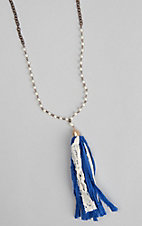 Ashlyn and Rose Into the Deep Blue Fabric Tassel Necklace