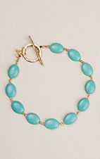 Country Chic Turquoise Stone Toggle Necklace