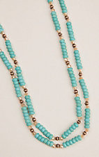 Ashlyn and Rose Turquoise Beaded W/ Copper Accents Necklace