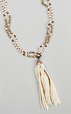 Ashlyn & Rose Cream and Brown Double Strand Beaded with Tassel Necklace