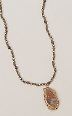 Ashlyn Rose Turquoise and Rust Crystal Beaded Necklace with Stone Pendant